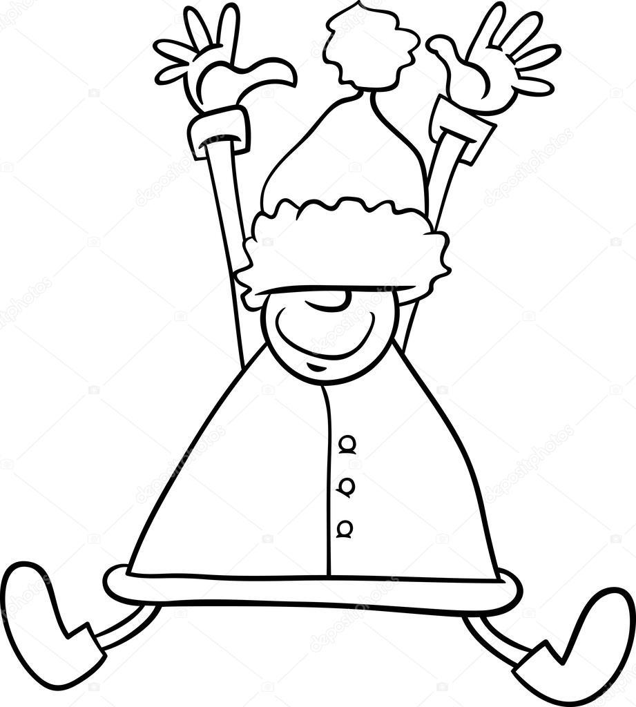 Happy Santa Cartoon Coloring Page Stock Vector C Izakowski 54329287
