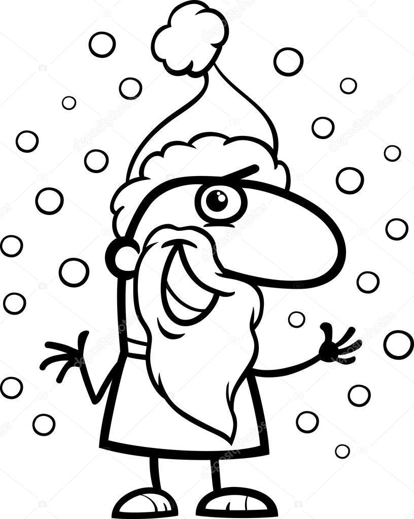 Página para colorear de Santa claus de dibujos animados — Vector de ...