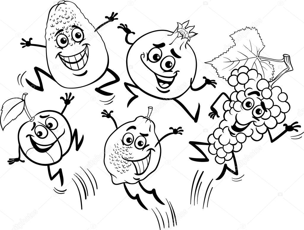 dibujos animados de frutas para colorear libro de salto — Vector de ...