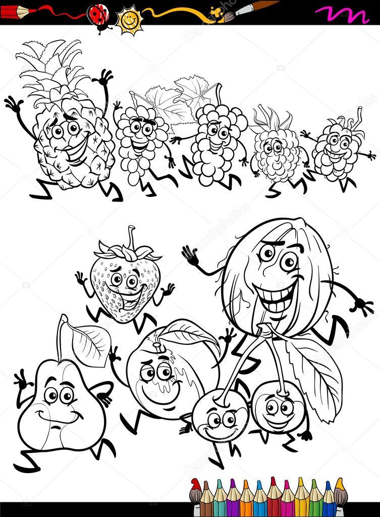 Ejecutando Frutas Configurar Pagina Para Colorear De Dibujos
