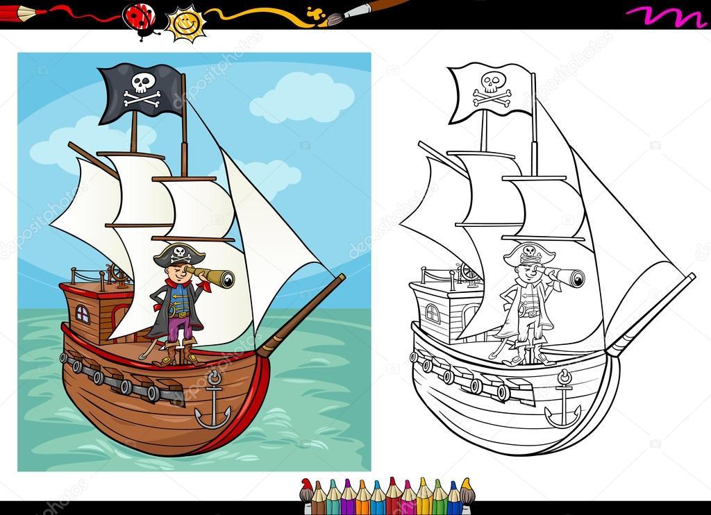 Korsan Gemisi Karikatür Kitap Boyama Stok Vektör Izakowski 54795331