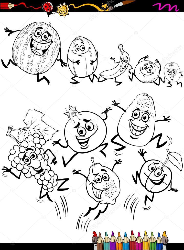 frutas divertidas Configurar página para colorear de dibujos ...