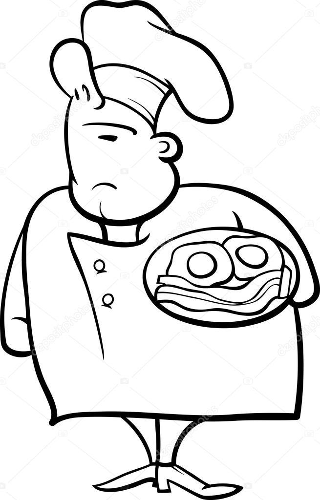 chef español Página para colorear de dibujos animados — Vector de ...