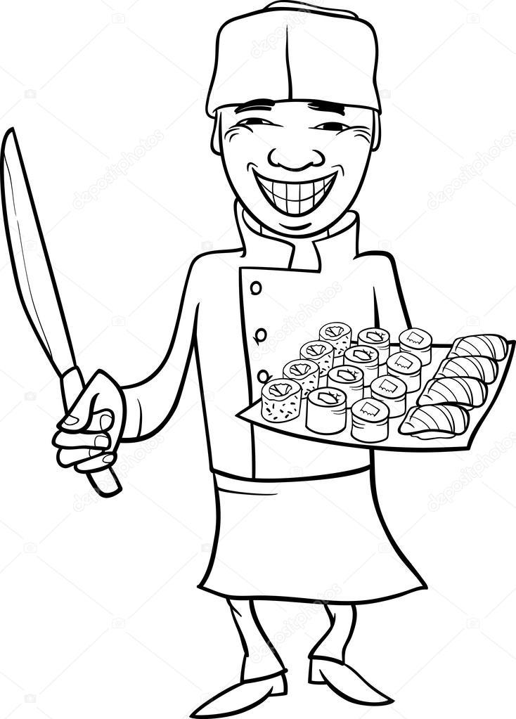 Página para colorear de la historieta chef de sushi de Japón ...