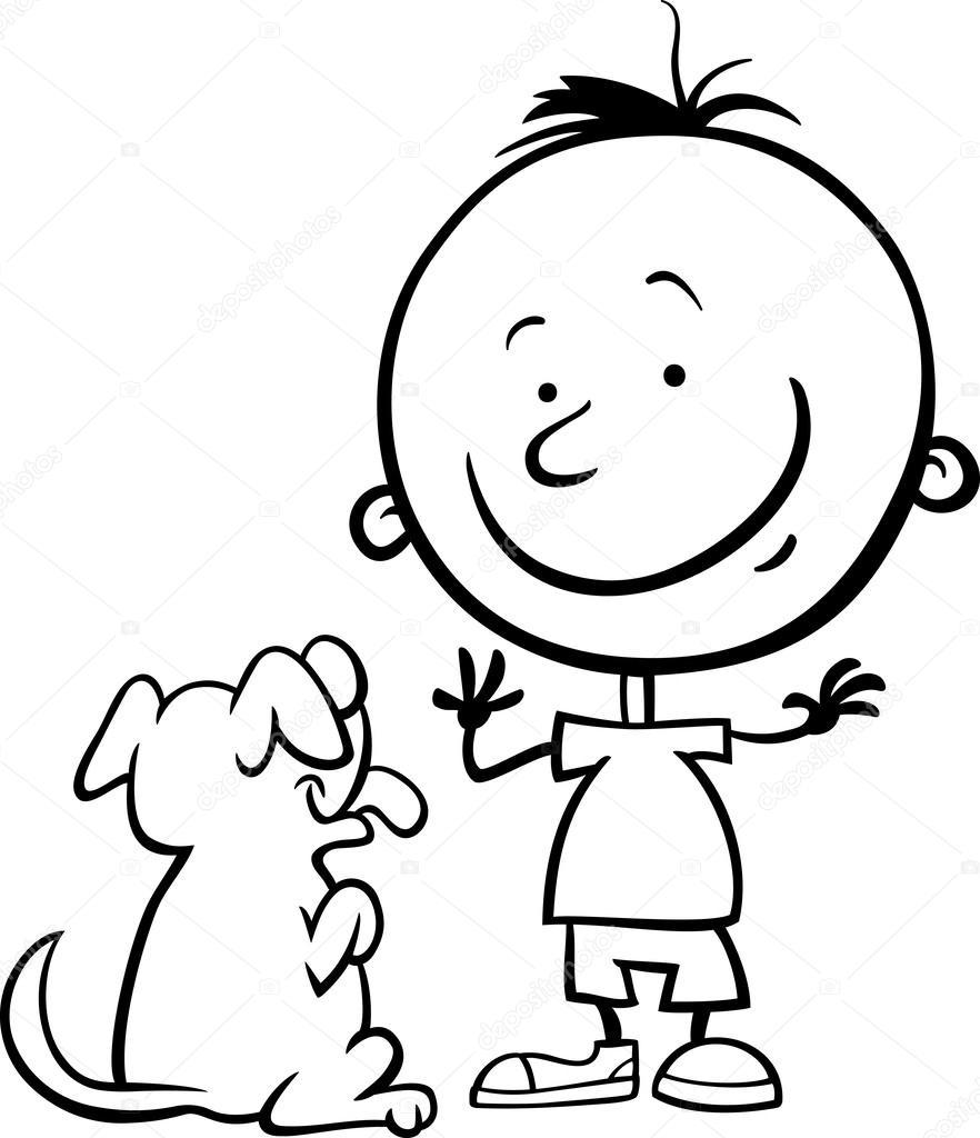 Imágenes Un Muchacho Para Colorear Muchacho Con Perro De