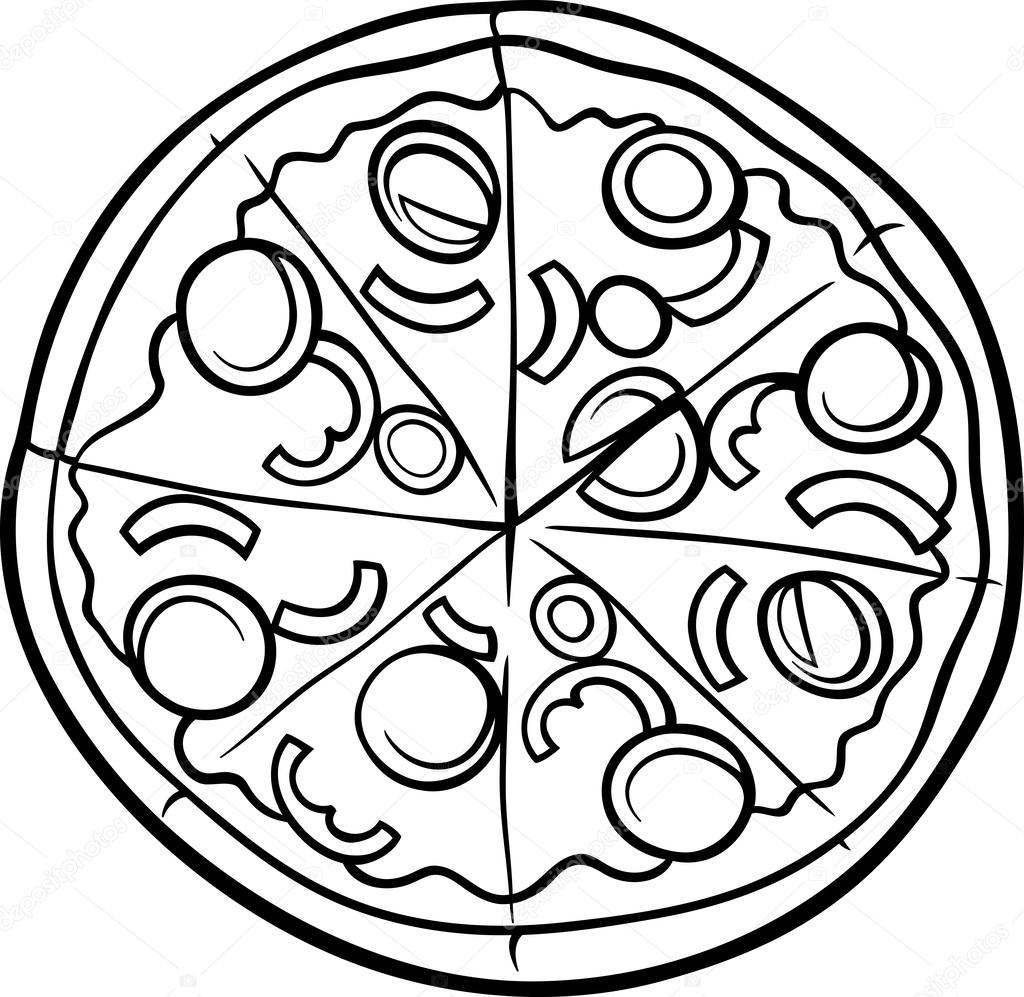 Página para colorear de dibujos animados de pizza italiana — Vector ...