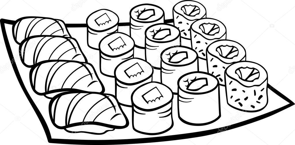Página para colorear de sushi comida dibujos animados — Archivo ...