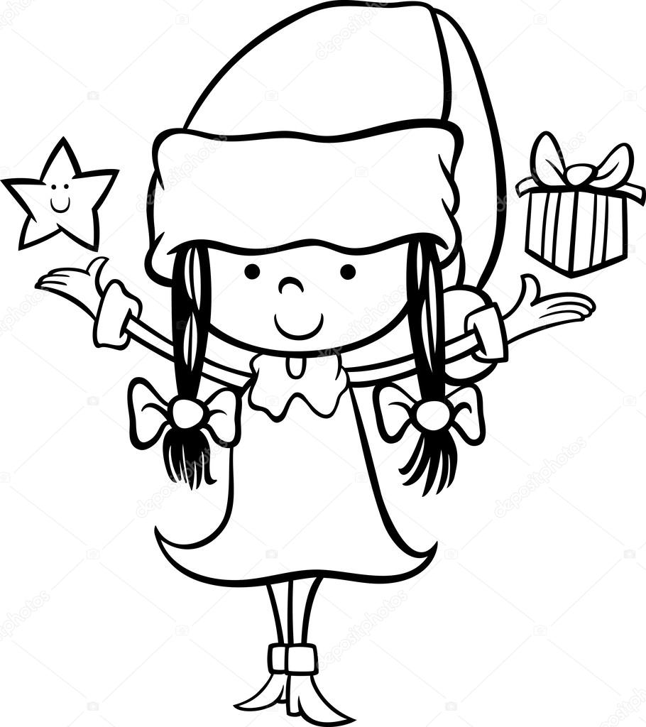 black and white cartoon illustration of santa claus girl character with christmas star and present for coloring book vector by izakowski