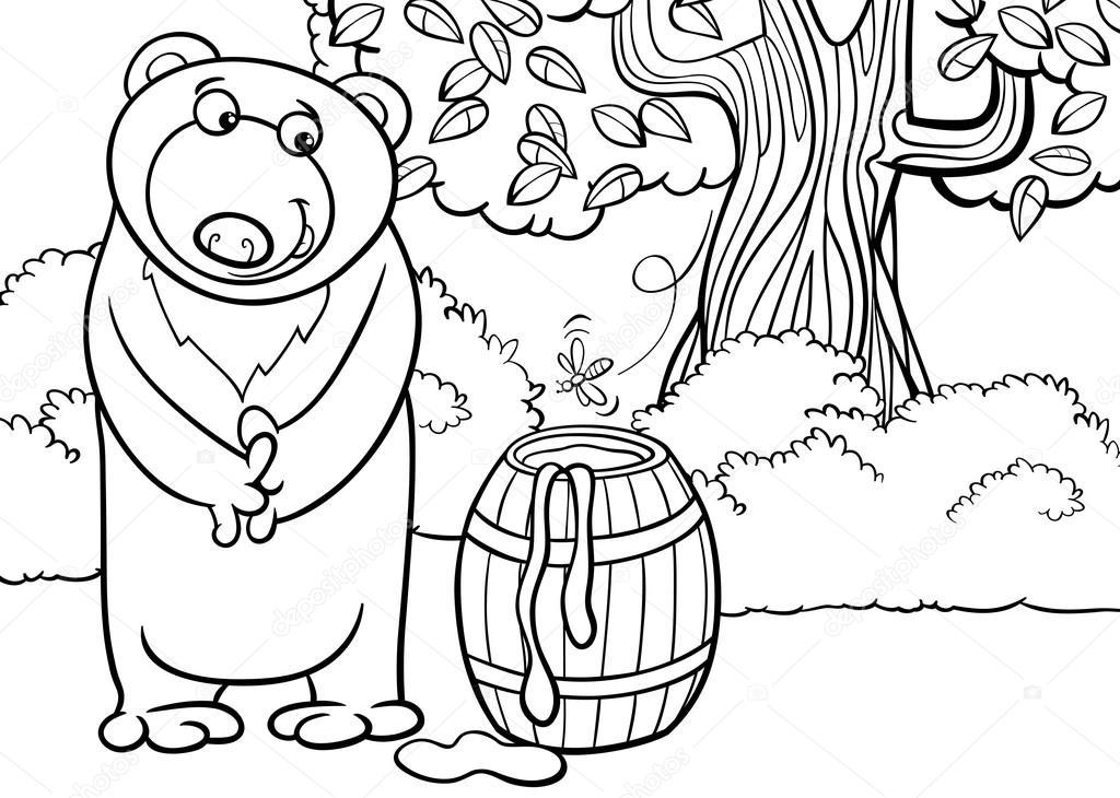 Orso con illustrazione di cartone animato miele
