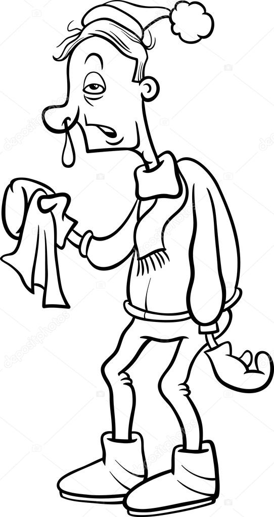 Mann mit Grippe Cartoon Färbung Seite — Stockvektor © izakowski ...
