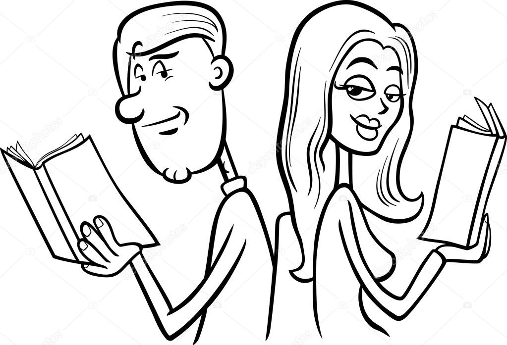 paar in Liebe Cartoon Färbung Seite — Stockvektor © izakowski #56629021