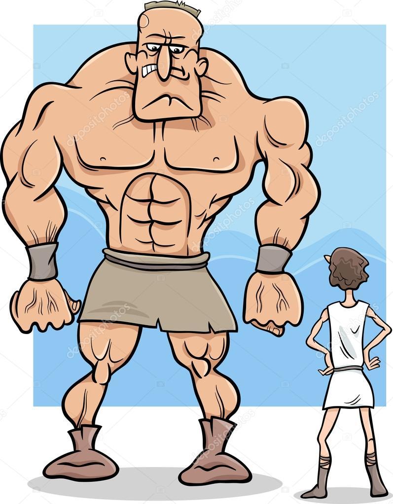 Ilustración de dibujos animados de David y Goliat — Archivo Imágenes ...