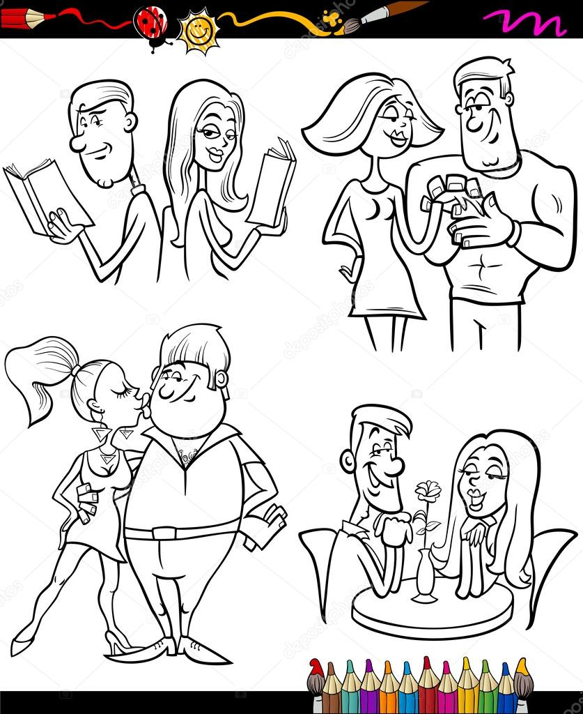 las parejas establecer página para colorear de dibujos animados ...