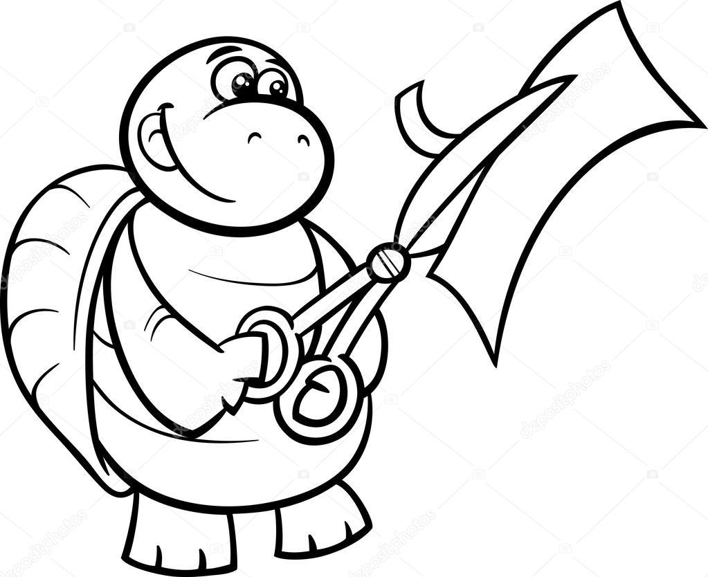 tortuga con tijeras para colorear página — Archivo Imágenes ...