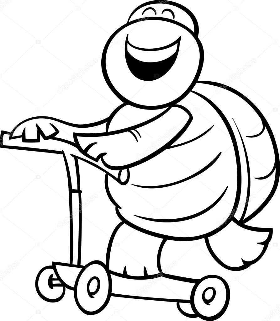 Tortuga en scooter página para colorear — Archivo Imágenes ...