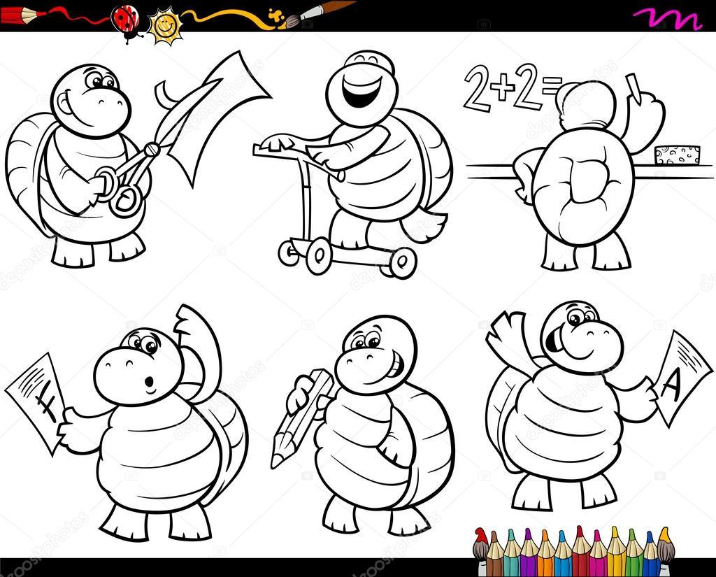 set de escuela tortuga cartoon colorear página — Archivo Imágenes ...