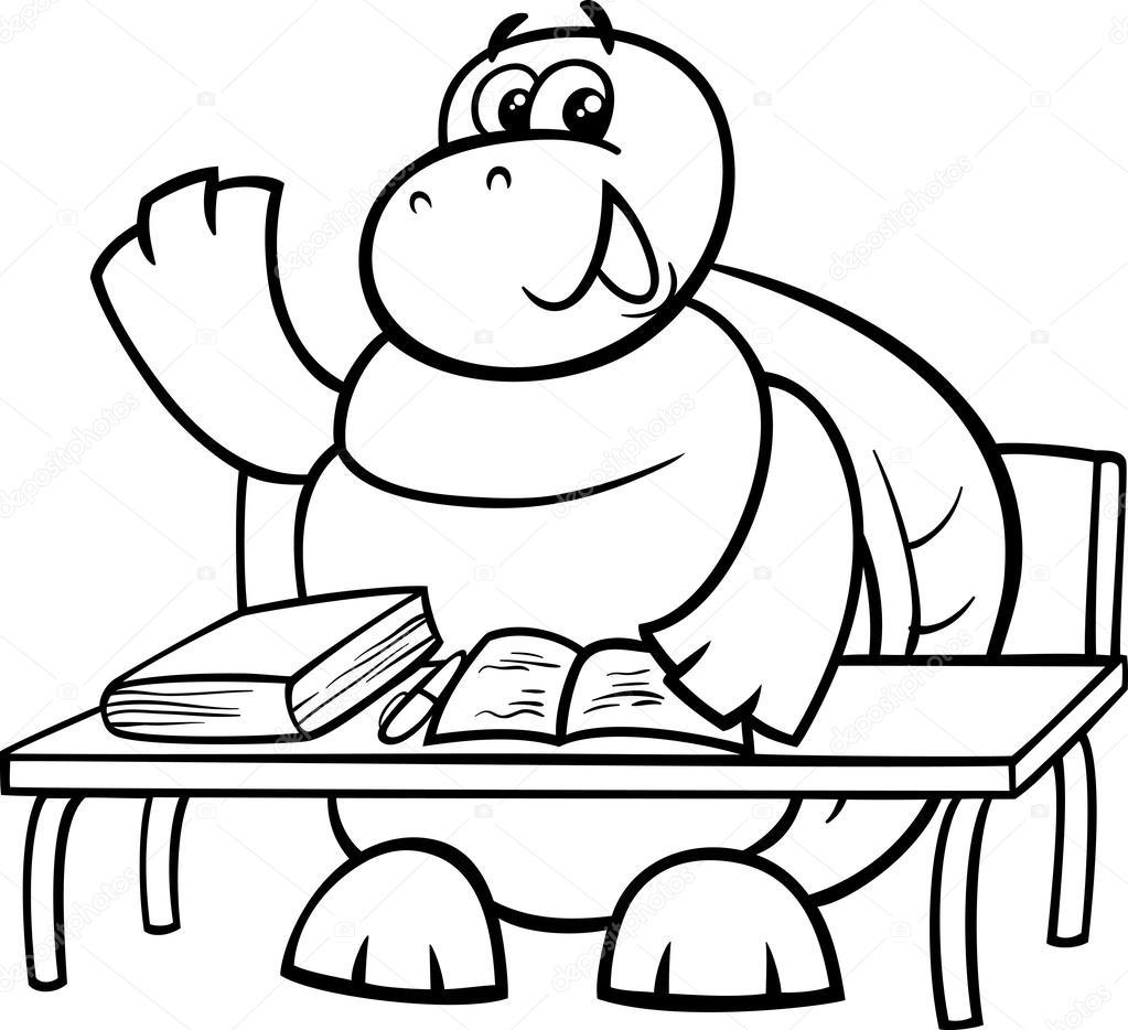 Schildkröten Sie, Anhebung Hand Färbung Seite — Stockvektor ...