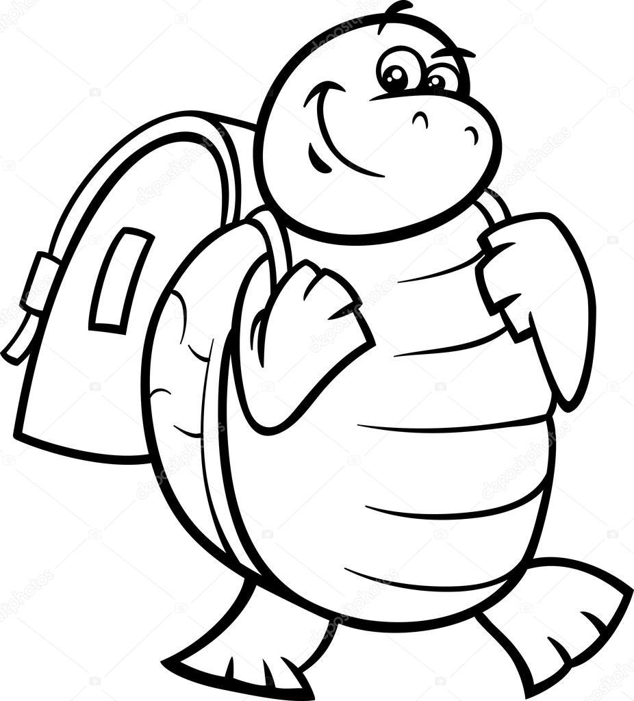 tortuga con mochila para colorear página — Vector de stock ...