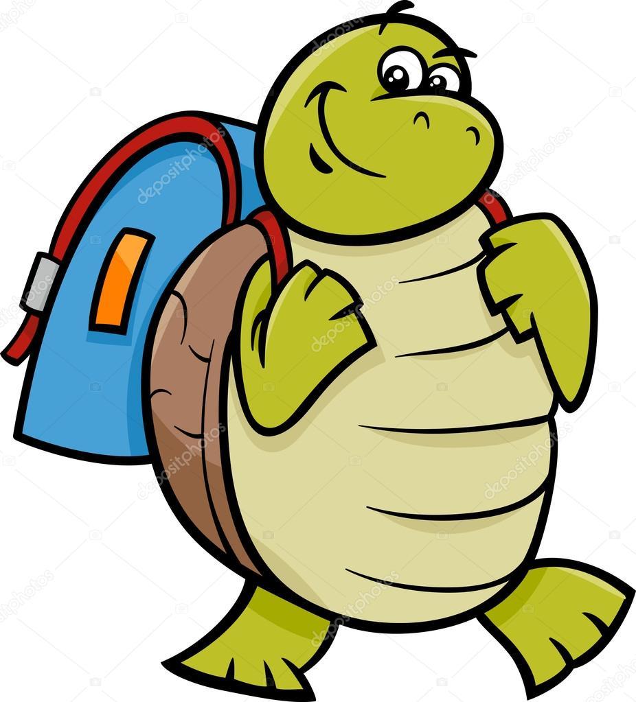 El çantası Karikatür çizimi Ile Kaplumbağa Stok Vektör Izakowski