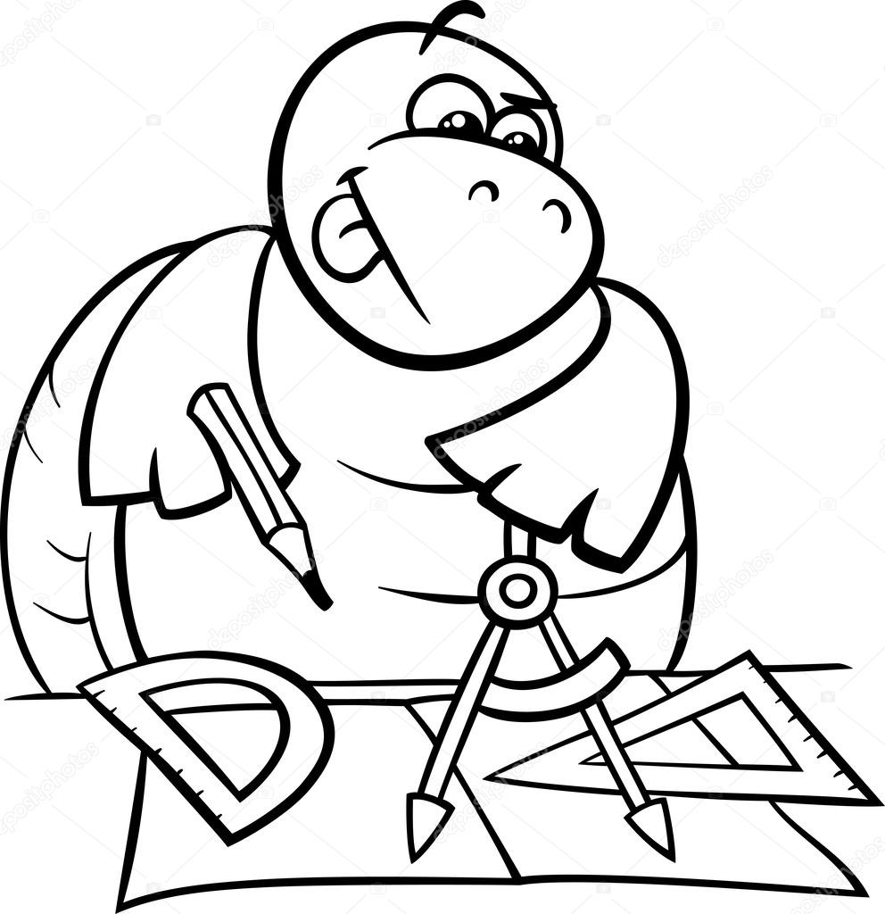 con pinzas de página para colorear de tortugas — Archivo Imágenes ...
