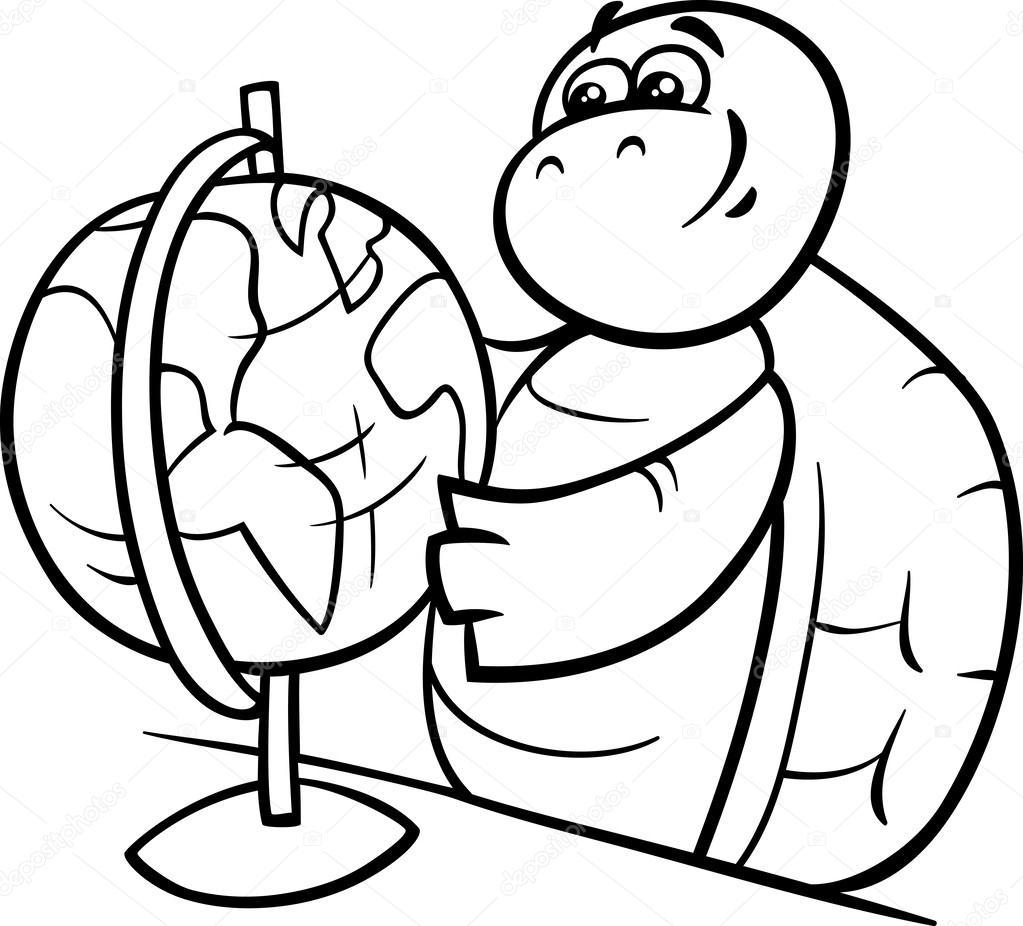 tortuga con globo para colorear página — Vector de stock © izakowski ...