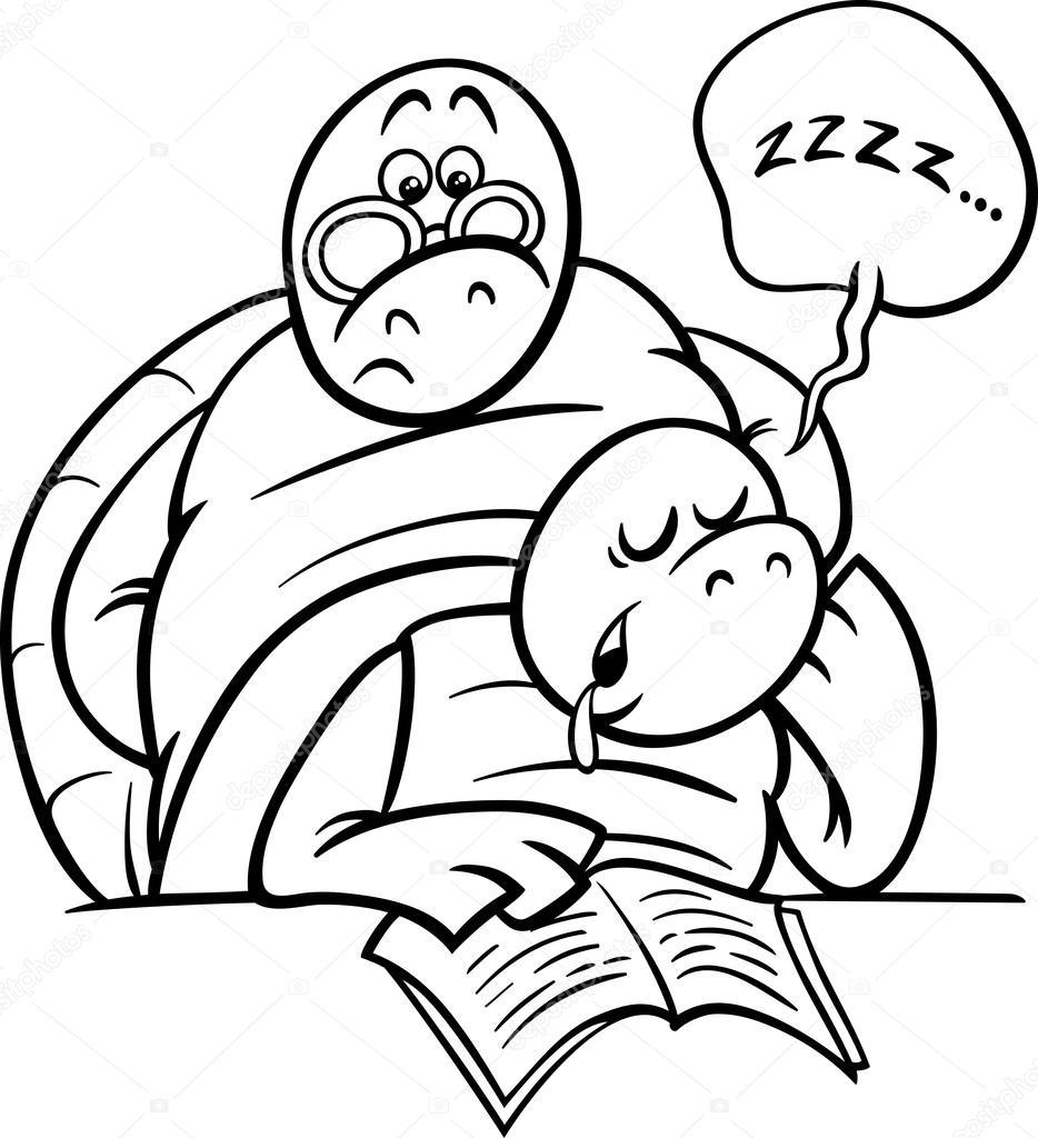 dormir tortuga lección página para colorear — Archivo Imágenes ...