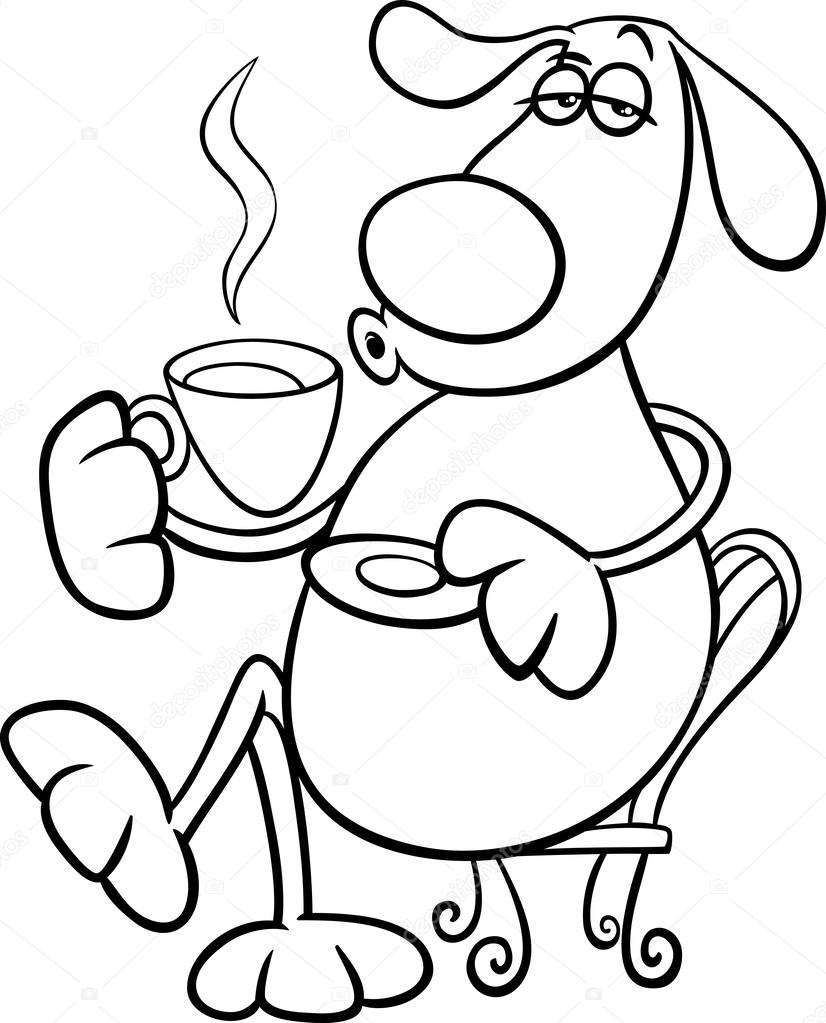 dog with coffeel coloring page — Stock Vector © izakowski #59021179