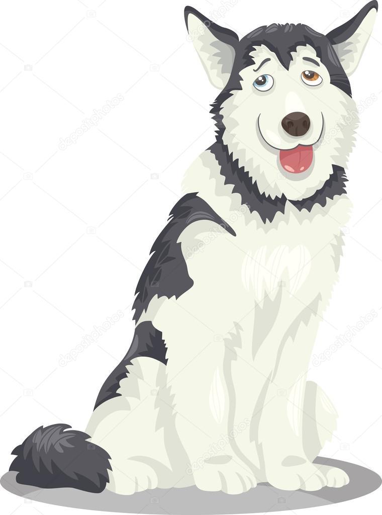 dibujos animados de perro Husky o malamute — Archivo Imágenes ...
