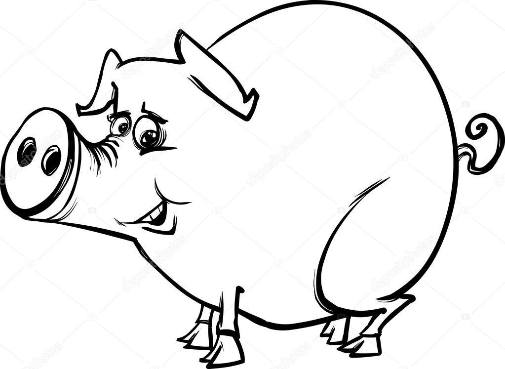 Página de granja cerdo de dibujos animados para colorear — Archivo ...