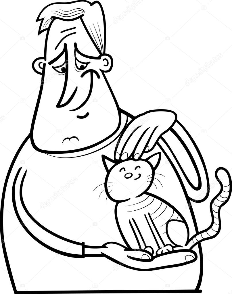 dibujos animados hombre y gato para colorear página — Vector de ...