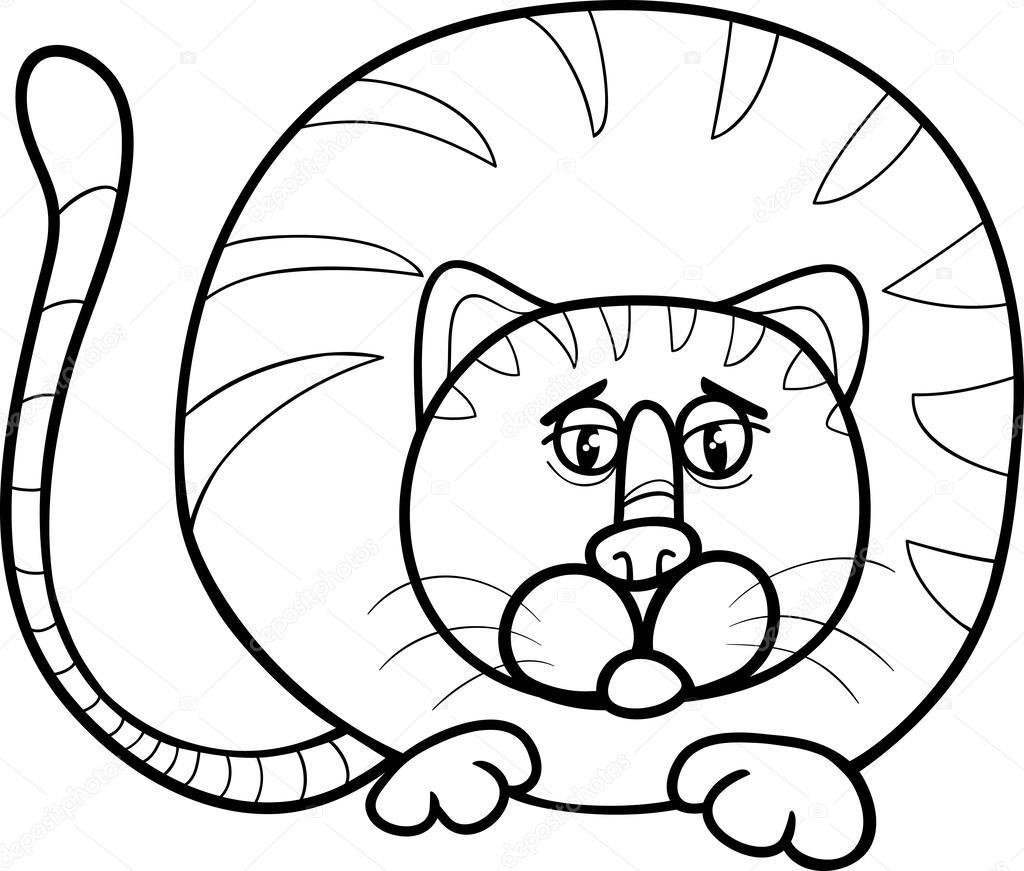 Página para colorear de dibujos animados de Gato gordo — Vector de ...