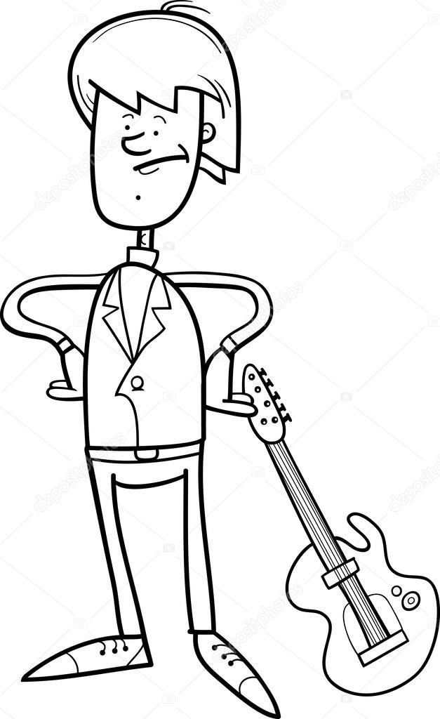 Guitarra caricatura para colorear | hombre de rock con guitarra para ...