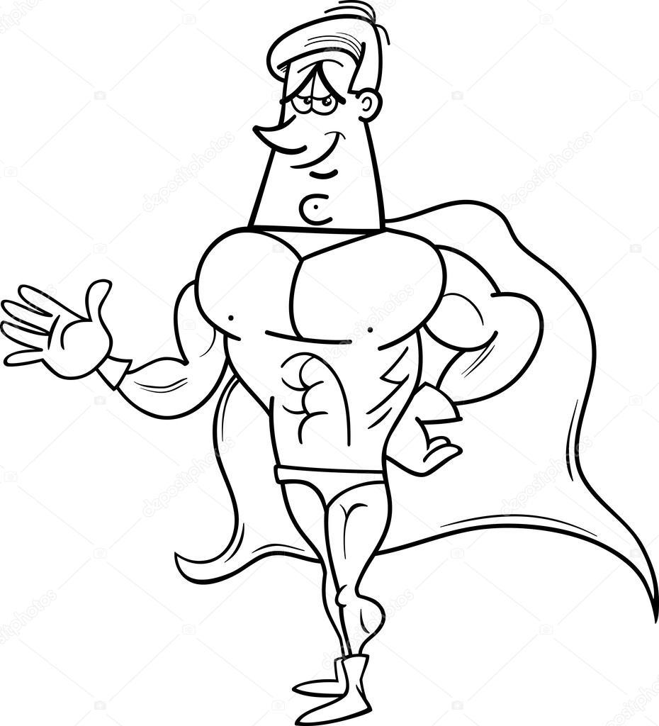 Süper Kahraman çizgi Film Boyama Sayfası Stok Vektör Izakowski