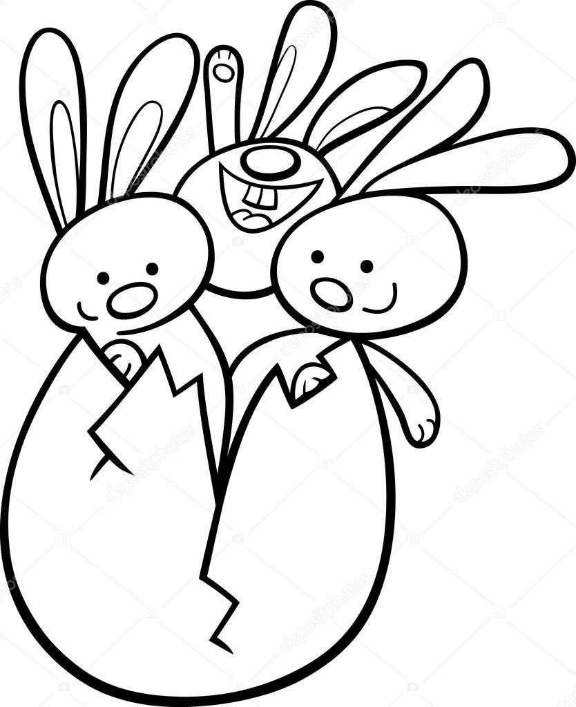 conejitos de Pascua en huevo página para colorear — Archivo Imágenes ...