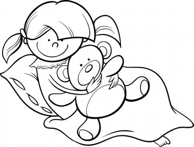Girl with teddy cartoon coloring page