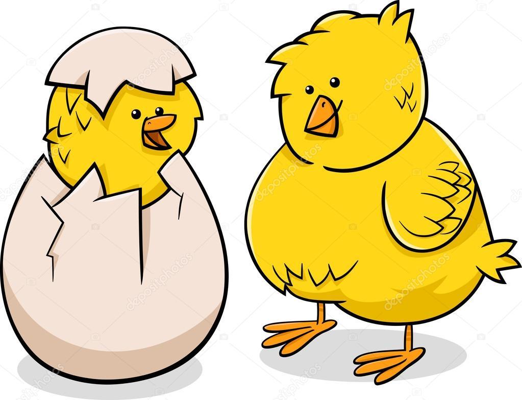 Ilustración de dibujos animados de pollitos de Pascua — Archivo ...
