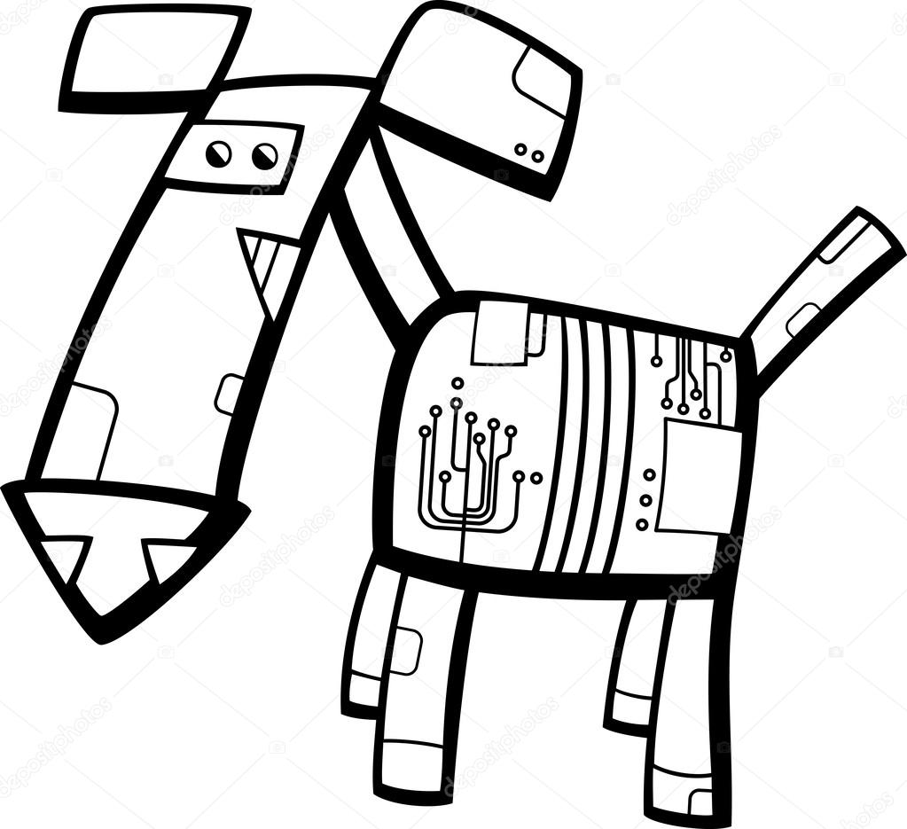 black and white cartoon illustration of funny fantasy robot dog for coloring book vector by izakowski