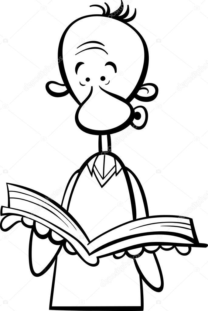 hombre con dibujos animados libro página para colorear — Archivo ...