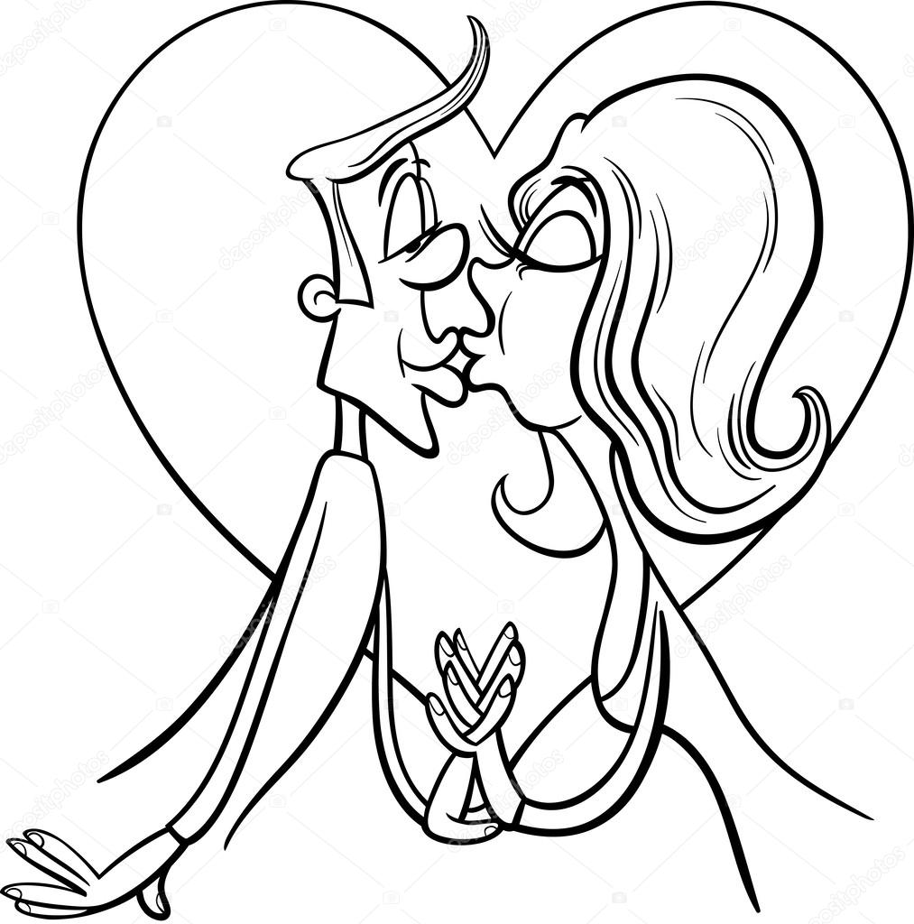 beso pareja en página para colorear de amor — Vector de stock ...