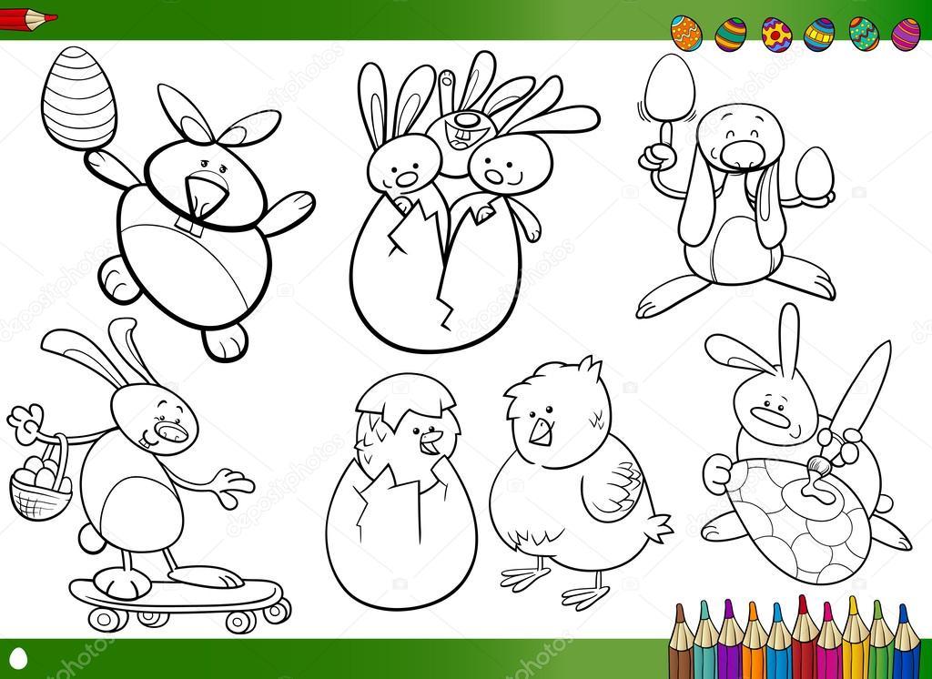 Cartoni animati di pasqua per libro da colorare