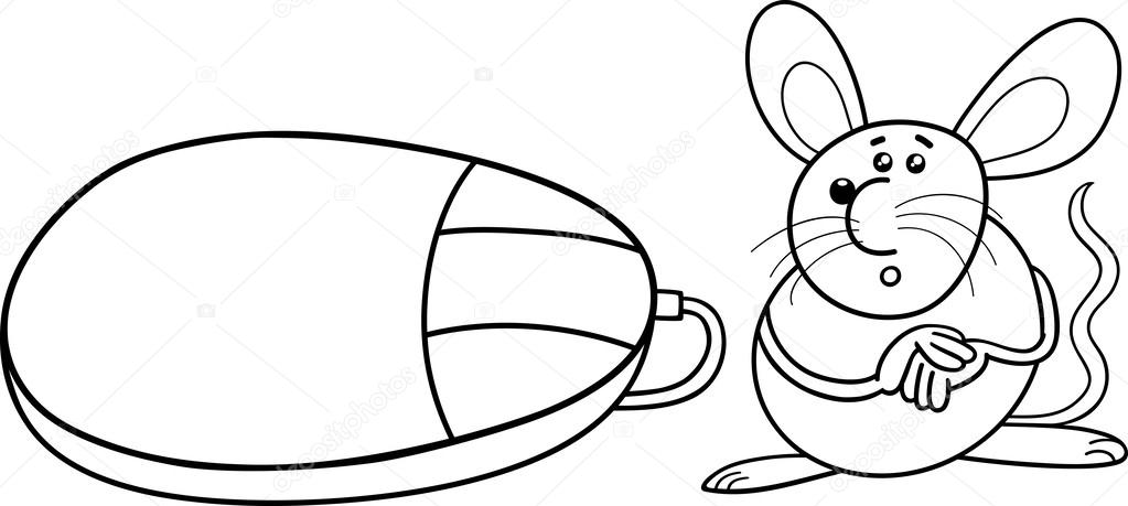 Black And White Cartoon Illustration Of Funny Mouse Rodent Computer For Coloring Book Vector By Izakowski