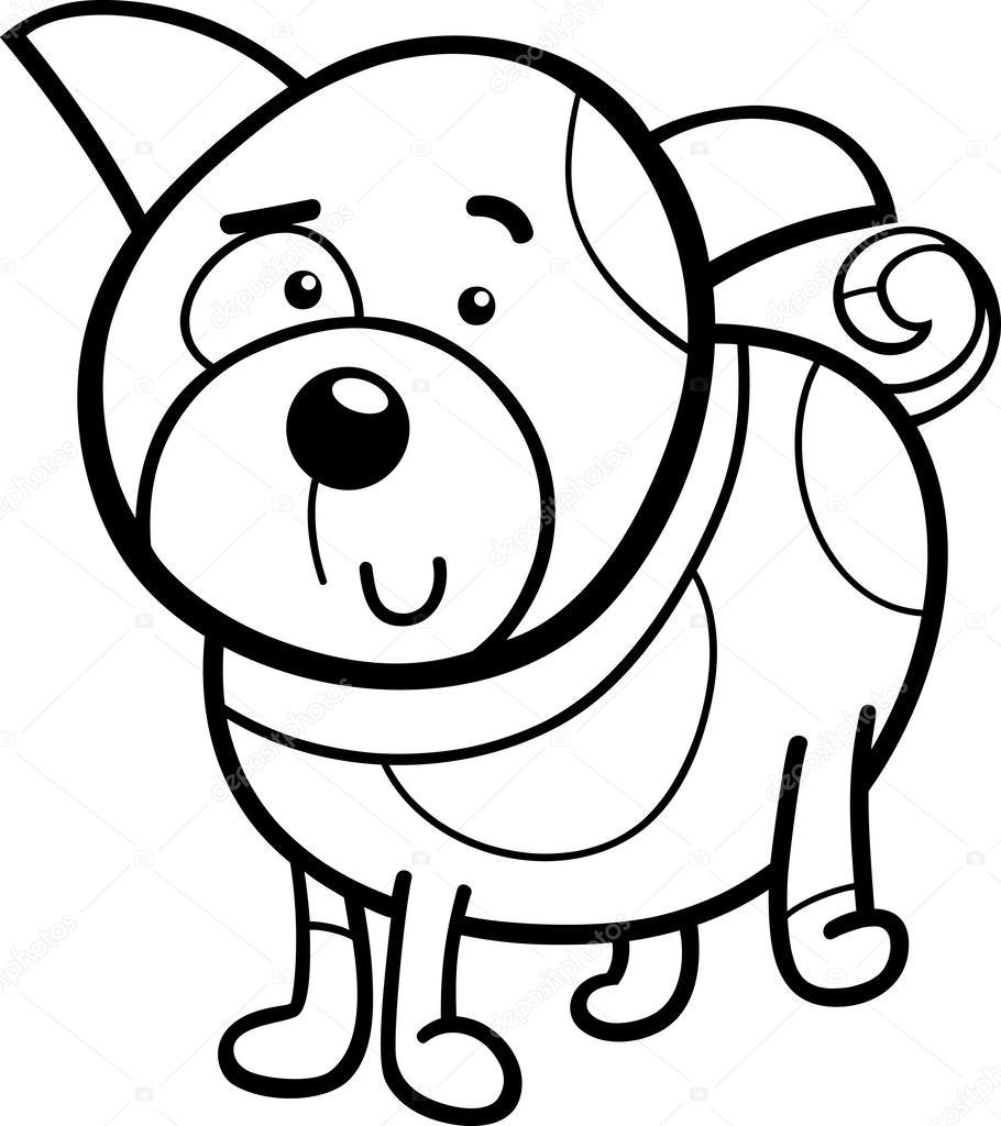 vistos dibujos animados cachorro página para colorear — Archivo ...
