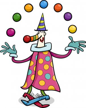 circus clown juggler cartoon illustration