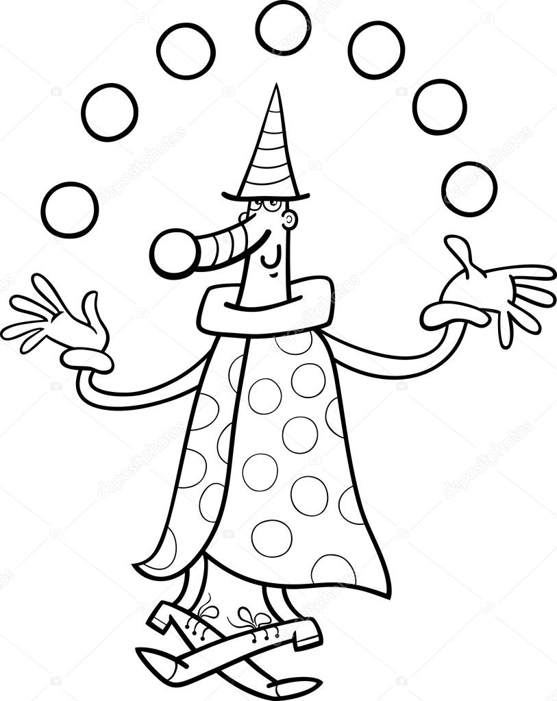 circus clown juggler coloring page u2014 stock vector izakowski