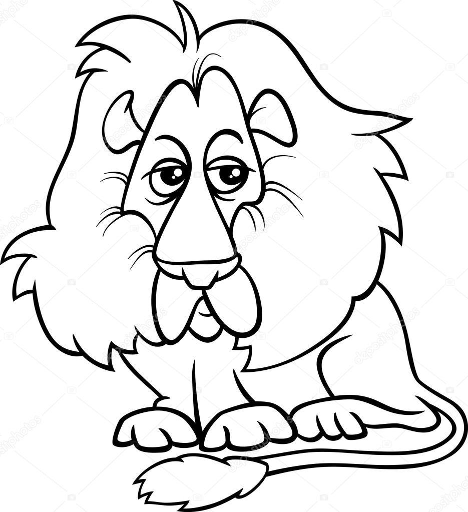 Dibujos Animadas Para Colorear Página De León Animales Dibujos