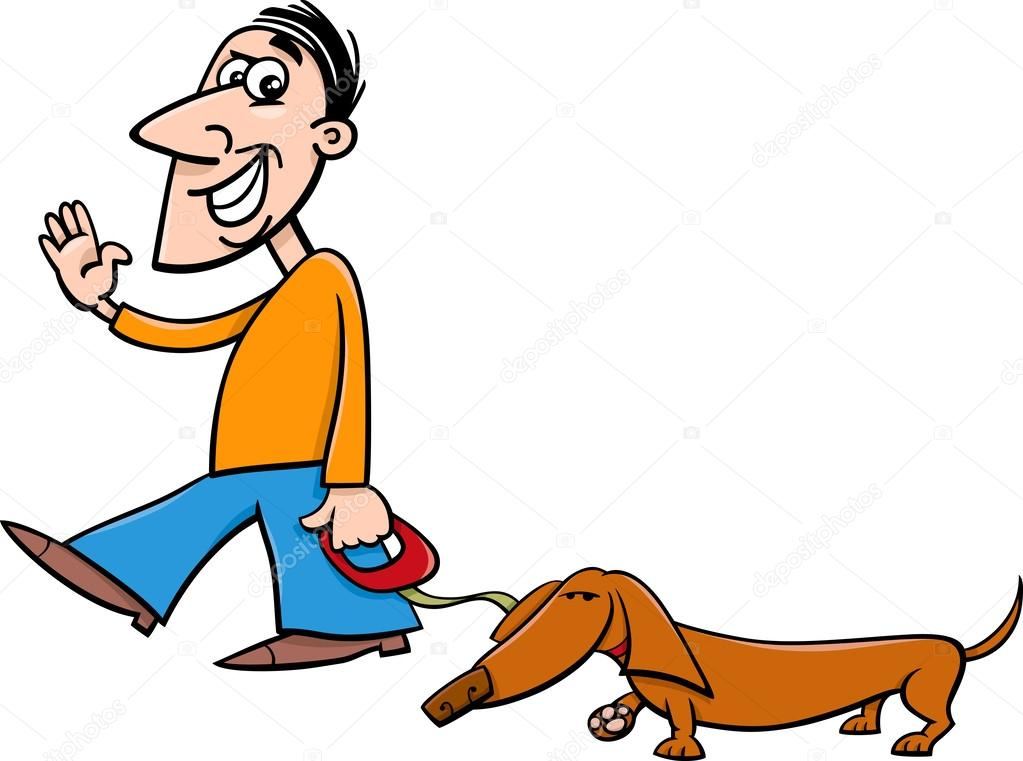 Person Walking A Dog Clipart
