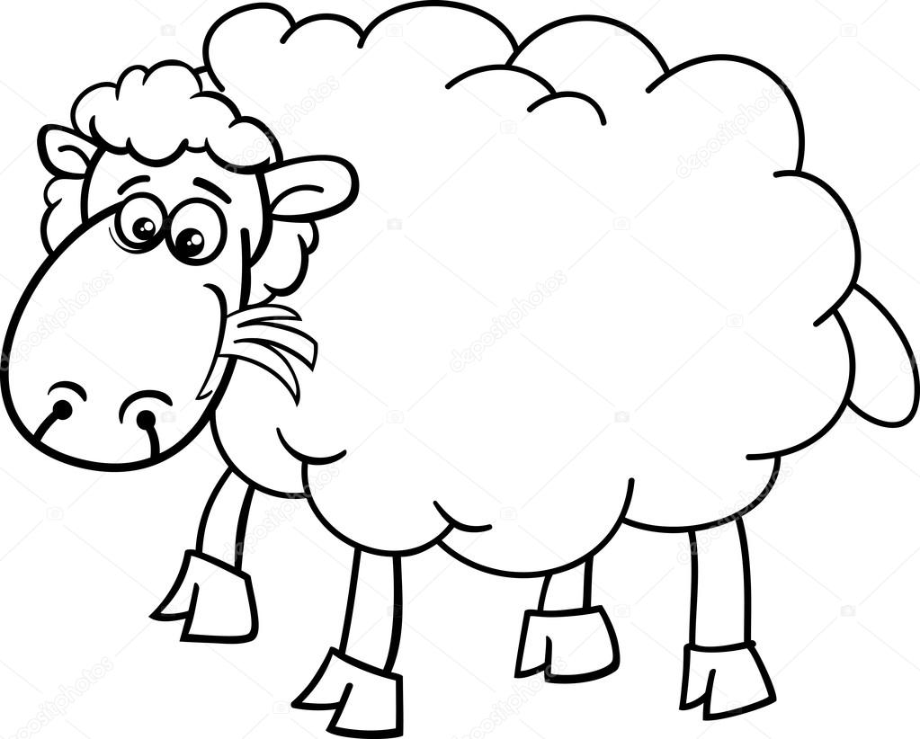 Página para colorear de animales de la granja de ovejas — Vector de ...