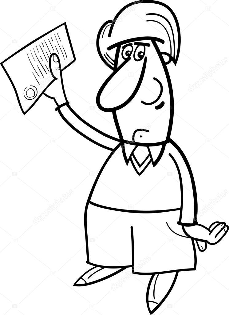 Imágenes: hombre pensando para colorear   hombre con documento ...
