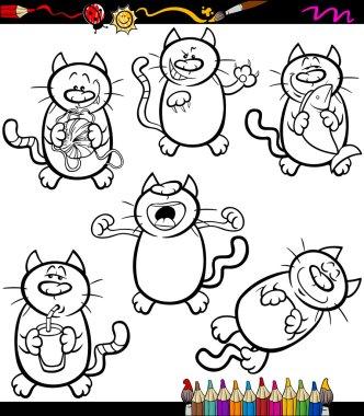 cats set cartoon coloring book
