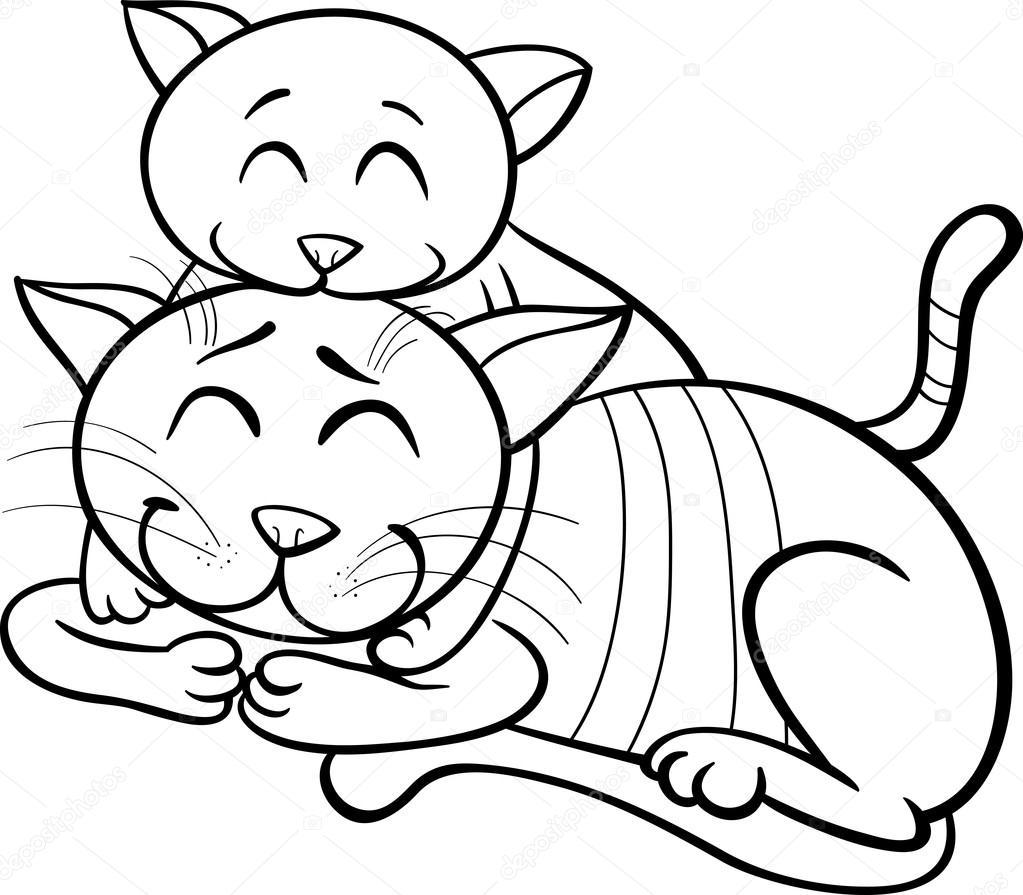 Mutlu Kedi Ve Yavru Kedi Boyama Kitabı Stok Vektör Izakowski